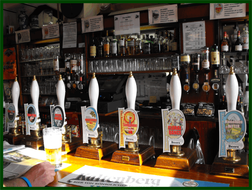 Griffin Bar - handpumps with all of the breweries seven real ales